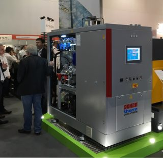CHP unit GG 50 at the ecobuild fair in London